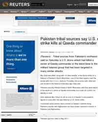 Pakistan tribal sources say drone strike: Reuters